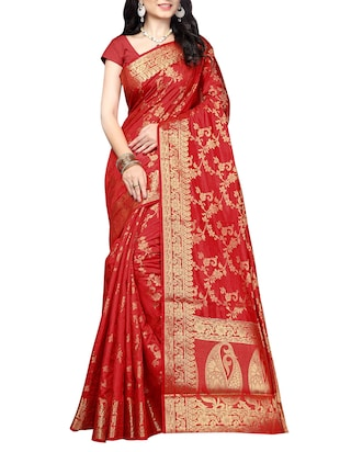 red silk banarasi saree