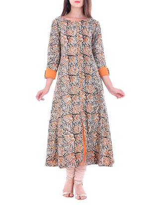 Multicolored cotton printed flared kurta