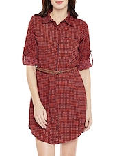 red printed shirt dress -  online shopping for Dresses