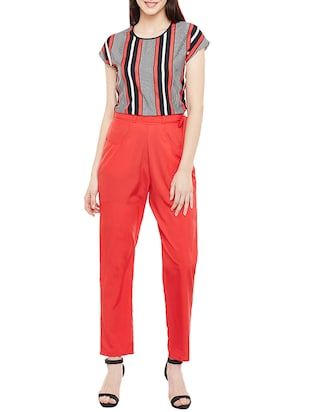 red crepe jumpsuit