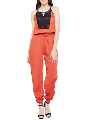 orange viscose full leg  jumpsuit