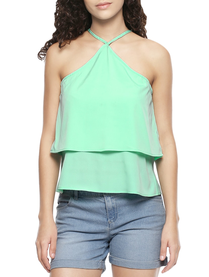 Buy Green Poly Crepe Top by Damen - Online shopping for Tops
