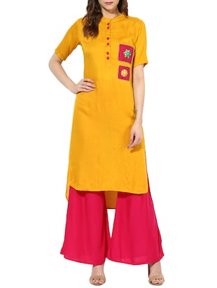 yellow rayon high low kurta