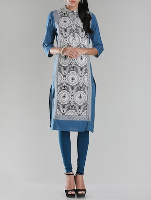 W blue cotton straight kurta
