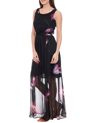 ab862a82d81bf Buy Black Printed Georgette Dress for Women from Amadore for ₹644 at 57% off