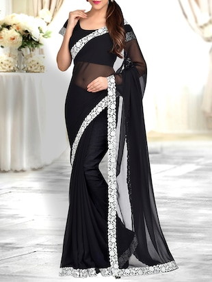black georgette bordered saree -  online shopping for Sarees