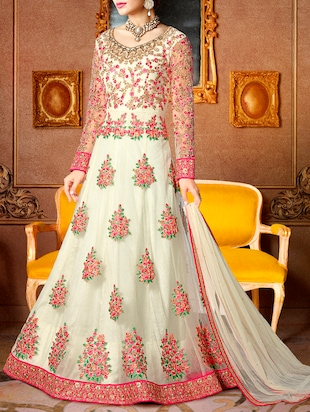 White embroidered anarkali dress material