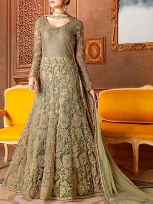 green embroidered anarkali dress material
