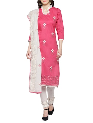 pink cotton embroidered unstitched suit