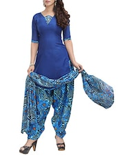 blue cotton patiyala suits dress material -  online shopping for Dress Material