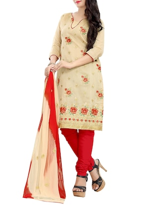 beige cotton churidaar suits unstitched suit