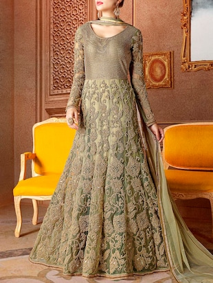green anarkali semi-stitched suit