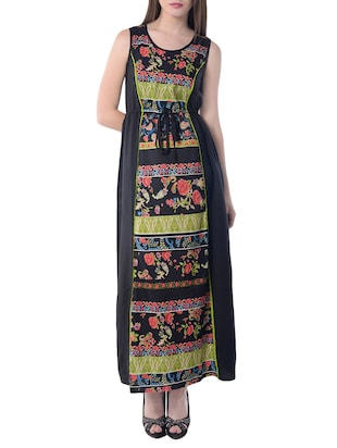 black printed poly crepe maxi dress -  online shopping for Dresses