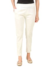 white cotton lycra cigarette pants -  online shopping for Trousers