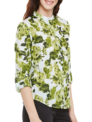 green floral printed cotton regular shirt - 14073777 - Standard Image - 2
