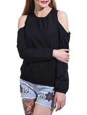 solid black crepe top -  online shopping for Tops