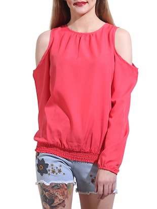 solid pink poly crepe top -  online shopping for Tops