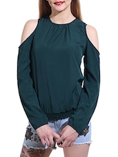 green poly crepe blouson top -  online shopping for Tops