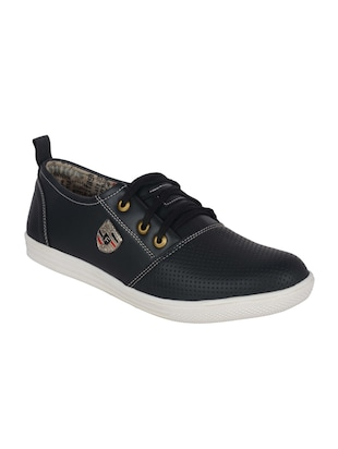 113cf3bdc01 black leatherette lace up sneaker - online shopping for Sneakers