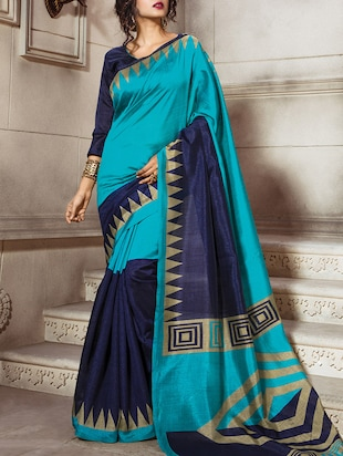 sky blue bordered saree