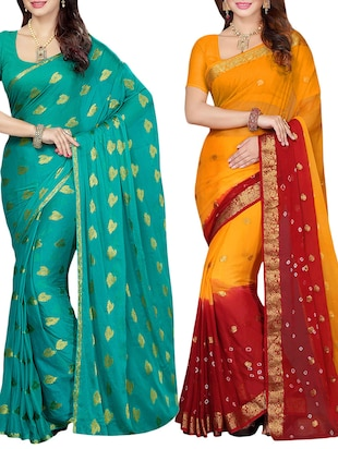 set of 2 multicolor chiffon saree