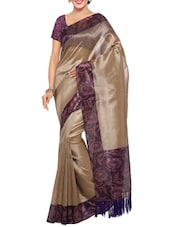 brown tussar silk saree with blouse -  online shopping for Sarees