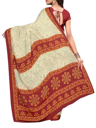 beige crepe printed saree with blouse - 14087925 - Standard Image - 2
