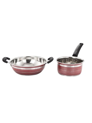 Mahavir 2 Pieces Induction And Lpg Compatible Kadai And Saucepan Red -  online shopping for Cookware Sets