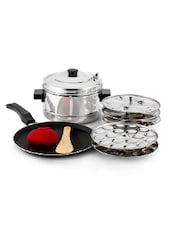 Mahavir 12 Pieces Induction Base Idly Cooker With 36Mini Idly Plate Free And Induction Base Dosa Tawa260Mm -  online shopping for Cookware Sets