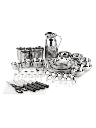 Mahavir 61 Pieces Stainless Steel Dinner Set