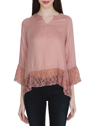 pink viscose asymmetric top