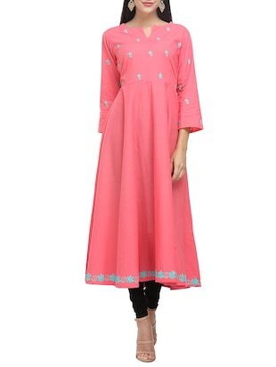 KAANCHIE NANGGIA peach cotton flared kurta