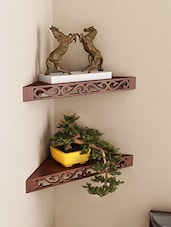 Engineered Wood Set of 2 Corner Wall Shelf By Home Sparkle -  online shopping for Wall Shelves