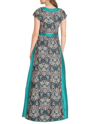 multicolored crepe fit & flare semi-stitched gown - 14100139 - Standard Image - 2
