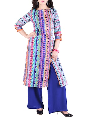 multi colored cotton straight kurta