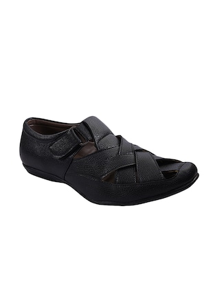 black leather slip on sandals -  online shopping for Sandals