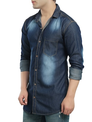 dark blue denim casual shirt - 14121593 - Standard Image - 2