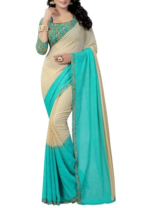 beige faux georgette printed saree