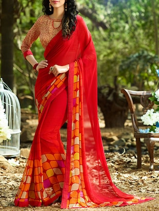 red georgette printed saree