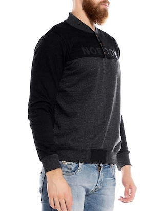 black cotton casual jacket - 14123823 - Standard Image - 2