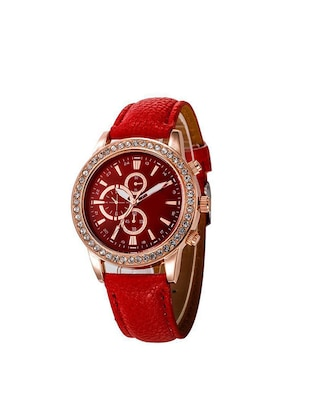 Jm red Leather belt watch -  online shopping for Analog watches