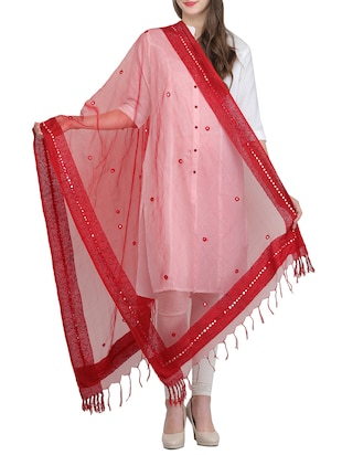 red embroidered organza dupatta