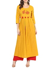 yellow cotton flared kurta -  online shopping for kurtas