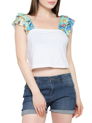 white cotton lycra crop top -  online shopping for Tops