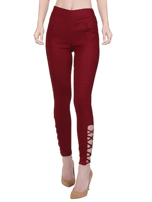 maroon cotton jegging