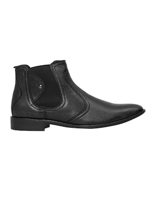 black Leather slip on boots - 14131862 - Standard Image - 2