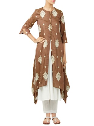 Neelam Arora hand embroidered brown kurta pant set