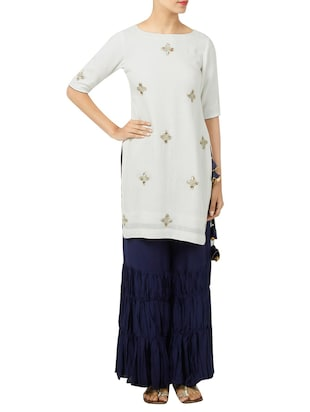 Neelam Arora hand embroidered white kurta pant set