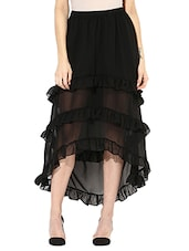 black georgette asymmetric skirts -  online shopping for Skirts
