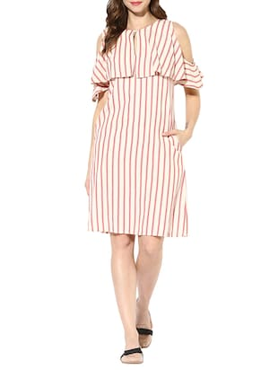 multicolored striped cotton ruffle dress -  online shopping for Dresses